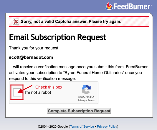 "Feedburner screenshot indicating to check the ""I am not a robot"" checkbox"
