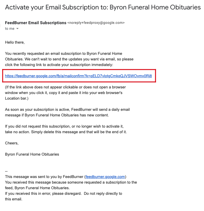Example of confirmation link you will receive in your email from FeedBurner Email Subscriptions